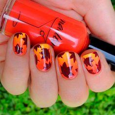 Идеи осеннего дизайна ногтей, Идеи осеннего маникюра, Маникюр коричневого цвета, Маникюр осень 2016, Маникюр с листьями, Маникюр с оранжевым цветом, Маникюр со стемпингом, Модный маникюр осень