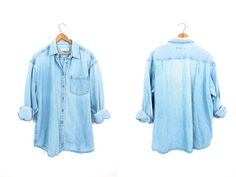 90s washed out denim jean shirt Vintage by dirtybirdiesvintage