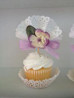 Pretty fan Cupcake Toppers in Lovely Lavender for by JeanKnee, $14.00