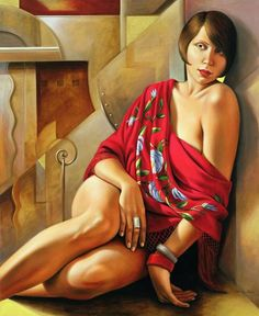 """""""Autumn Ruby"""" - Catherine Abel, 2006 {contemporary figurative blonde female seated woman painting} catherineabelstore.com"""