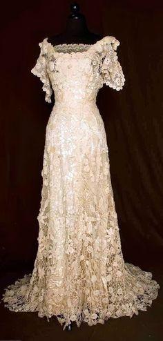 Trained Irish Crochet Gown - c. 1908 - Augusta ...