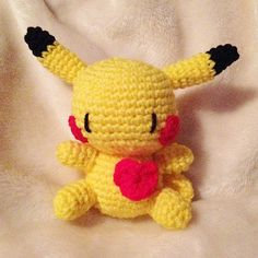 Crochet Baby Pokemon Pikachu with a Heart by MoonlitShop15 on Etsy