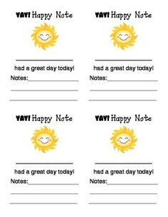 Parent and Teacher Collaboration Resource Happy Notes for positive classroom management that can be relayed to parents about what their child positively did in class! Kindergarten Classroom Management, Classroom Rewards, Preschool Classroom, Classroom Ideas, Teacher Organization, Teacher Tools, Teacher Resources, Teacher Stuff, Teaching Ideas