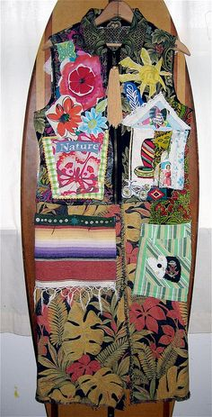 Upcycled SALVAGE Dress Altered Wearable FOLK Art  Collage mybonny