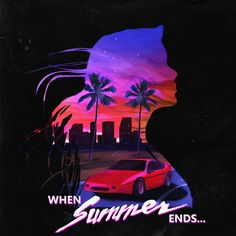 When Summer Ends – Synthwave Album Cover on Behance – retro Vaporwave, Retro Kunst, Retro Art, 80s Design, Design Art, Logo Design, Cover Art, Arte Dope, Neon Noir