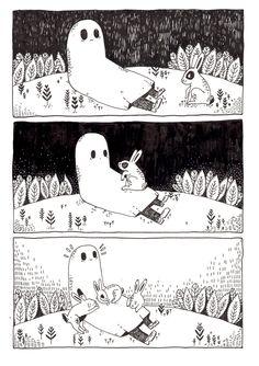 The Sad ghost's sad ghost club. A club for raising positive mental health awareness, through comics and community Ghost Comic, Comic Art, Illustrations, Illustration Art, Que Horror, The Awkward Yeti, Plus Belle La Vie, Arte Sketchbook, Cute Ghost
