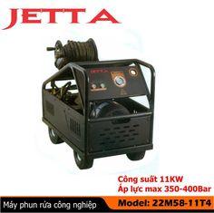 Máy phun rửa công nghiệp, Máy phun rửa cao áp với thông số : Model: 22M58-11T4 - Công suất mô tơ: 11Kw - Điện áp: 380V/50Hz - Tốc độ: 1450 v/p - Áp lực lớn nhất: 350-400 bar - Lưu lượng: 18L/p - Chiều dài vòi phun: 15m - Trọng lượng: 210 kg