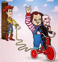 Chucky and Jigsaw is wildin' Disney Horror, Horror Cartoon, Funny Horror, Horror Icons, Cartoon Art, Chucky, Horror Movie Characters, Horror Movies, Horror Artwork