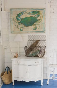 I love this blue crab painting for the family room. Gives me the pop of color, its vibrant, love it.