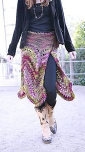 """Ravelry: The Feather & Fan Flair (or The """"This Ain't Your Grandma's Afghan"""" Skirt) pattern by Peggy Clements"""