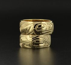 Each ring depicts a Northwest Coast Native 'Salmon' design, but when the rings are stacked together they reveal fish swimming upstream together. This design by Haida artist Shawn Edenshaw is perfect as a wedding band set, as it symbolizes unity and tackling life together. Please note that the design will differ from the photos in the listing depending on the sizes of the rings. The sizes of the rings play a part in the design/layout of the salmon.These rings pair perfectly with the new book…