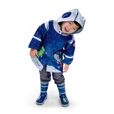 Look at this Blue Space Hero Raincoat - Infant, Toddler & Kids by Kidorable Vinyl Raincoat, Hooded Raincoat, Long Raincoat, Toddler Rain Boots, Space Hero, Little Boy Blue, Boys Online, Yellow Raincoat, Raincoats For Women