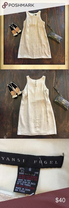 Yansi Fugel Linen dress⭐️ Beautiful gold shimmer Yansi Fugel dress.  Has built in bra. Perfect summer dress!! Yansi Fugel Dresses Midi