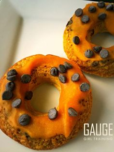 Fall is here and so are are the seasonal pumpkin recipes! Check out this simple, pumpkin chocolate chip protein donuts recipe for some much needed variety to your healthy meal plan with absolutely zero guilt!   Ingredients: 1/2 cup Canned Trader Joes Organic Pumpkin (can substitute with any brand of canned pumpkin) 1.5 scoops Muscle