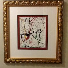 5 year old's award winning artwork made using marbles. Custom Framing makes it look like a gallery piece.