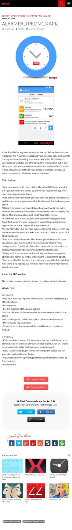 Android Apps AlarmPad PRO v1.3 apk - ezyapk AlarmPad PRO brings context to your alarms. Set an alarm, see the weather forecast and your appointments. AlarmPad PRO listens to your calendar updates. http://www.ezyapk.com/android-apps/alarmpad-pro-v1-3-apk/