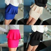 High Waisted Peplum Mini Tube Skirt
