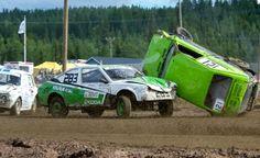 Poikkinainti Folkrace rally driving on the legendary track at Kittisvaara in July in Pello in Lapland