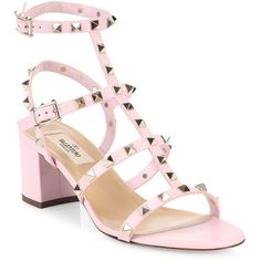 Valentino Women's Rockstud Leather Block-Heel Sandals (20,510 MXN) ❤ liked on Polyvore featuring shoes, sandals, rose, women's shoes - valentino, leather ankle strap sandals, open toe shoes, open toe sandals, color block sandals and ankle tie sandals