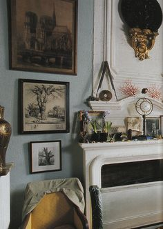 Blue, coral, black, yellow, olive: home of André Dubreuil from June 2006 World of Interiors.