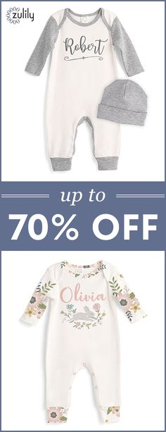 Sign up to shop personalized baby playsuits up to 70% off. Get pieces that capture just how special your latest arrival is with this precious, personalized apparel. Baby bodysuits are a staple baby clothing item for newborn boys and girls alike. From long-sleeve to short-sleeve and funny to vintage, our cute selection features a wide variety of cuts and designs at great prices.