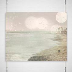 Dreamy Beach Photography 8x10 Metallic Photograph print binoculars boardwalk summer pale green pink wall art decor 'Searching For You'. $26.00, via Etsy.