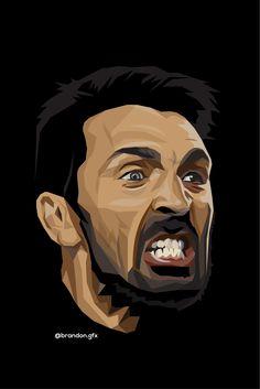 Buffon Football Art, Juventus Fc, Sports Art, Goalkeeper, Football Players, Graphic Art, Cartoon, Illustration, Artwork
