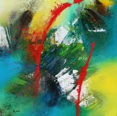 Un po' di Rosso, Acrylic on Canvas, 100 x 100 cm Creations, Abstract, Canvas, Artwork, Board, Summary, Tela, Work Of Art, Auguste Rodin Artwork