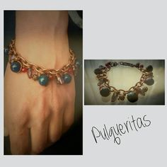 Cupper bracelet with pendant beads. Pulqueritas Creations.  Contact me: pulqueritas@gmail.com and visit me on Instagram and Pinterest!!