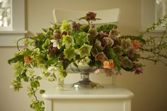 Bella Fiori: hellebores, quince, akebia vine and fritillaria with a touch of pieris japonica.