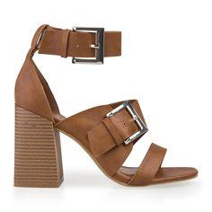 Tan Double Buckle Sandal - Shoes   YDE Tan Heels, High Heels, South African Fashion, Toe Shape, Open Toe, Heeled Mules, Shoes Sandals, Footwear, Shoe
