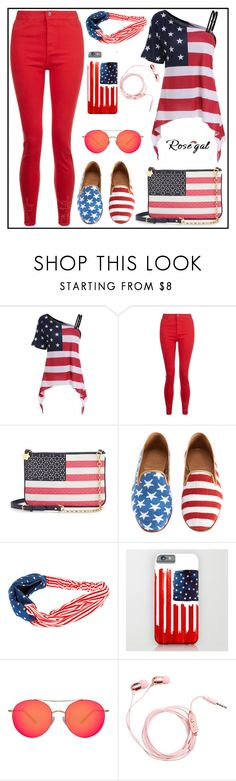"""""""Skew Collar American Flag Print Asymmetrical Tee"""" by samed-85 ❤ liked on Polyvore featuring Draper James and Matthew Williamson"""