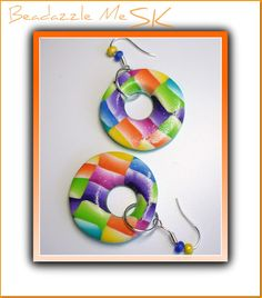 Beadazzle Me Polymer Jewelry: Polymer Clay Handmade Watercolor Round Earrings