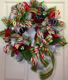 Christmas Mesh Wreath on Etsy, $89.00