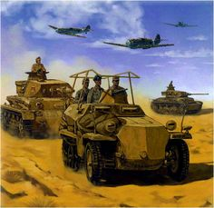 Erwin Rommel 'El Zorro del desierto' a bordo de un Sd.kfz. 250/3 'Greif' al Afrikakorps