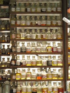 this made me thinking of statistical information represented by amount and depth of colour but presented as something aesthetic Apothecary Cabinet, Apothecary Bottles, Antique Bottles, Vintage Perfume Bottles, Bottles And Jars, Antique Glass, Glass Bottles, Mason Jars, Potion Bottle