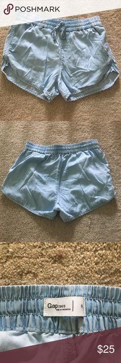 Gap loose chambray shorts PERFECT CONDITION!!  Blue chambray gap shorts. Elastic waist band makes super comfortable!! GAP Shorts Jean Shorts