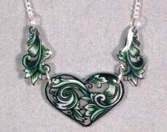 Hearts and Swirls Green Shrinky Dink Necklace
