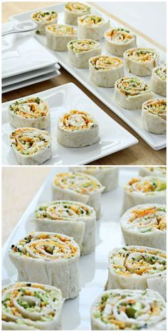 Vegetable Tortilla Roll Ups with cream cheese filling spread on tortillas, topped with vegetables and cheese. Slice and serve.