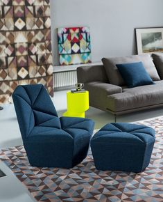 Armchair, lumbar cushion and pouf, is Goosip. The upholstery gives' softness to the touch, modern design pleases and its backrest allows you to get a Industrial Furniture, Interiores Design, Floor Chair, Modern Design, Ottoman, Upholstery, Cushions, Couch, Architecture