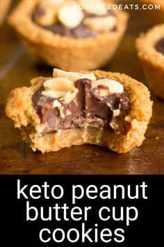 My Peanut Butter Cup Cookies are a match made in heaven. With a tender cookie crust, chocolate ganache filling, and the crunch of salty peanuts on top your cravings will be fulfilled. Keto Low Carb, Gluten-Free, Sugar-Free, THM S Sugar Free Cookies, Sugar Free Desserts, Sugar Free Recipes, Keto Cookies, Gluten Free Cookies, Low Carb Desserts, Cookies Et Biscuits, Gluten Free Cookie Recipes, Ketogenic Desserts