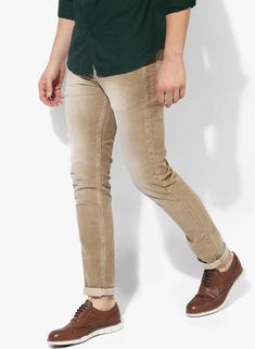 Buy Spykar Khaki Washed Slim Fit Corduroy Trouser for Men Online India, Best  Prices,