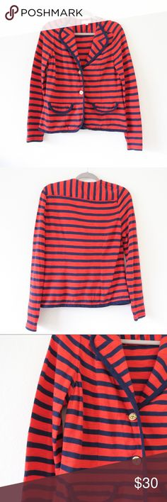 """Cabi Striped Cardigan Item is in very good condition. Very minor flaws will be pictured if any. See photos. Cleaned and ready to wear.  Approximate flat measurements: Length: 23"""" Pit to Pit: 20""""  I do my best to check for holes and stains and describe items accurately. Any flaws are noted and photographed. Please see approximate measurements for sizing. K90 CAbi Sweaters Cardigans"""
