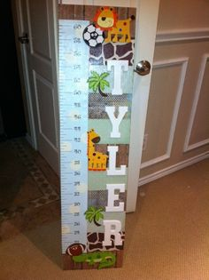 Growth Chart that was made for Tyler's Room before he was born.. came out so cute :)