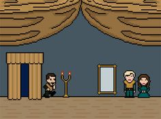 Game of Thrones: 14 brutal deaths as 8 bit GIFs - Renly Baratheon assassinated by shadow.