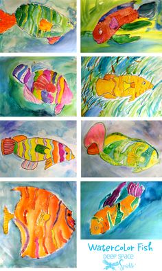 very nice watercolor resist fish lesson from deep space sparkle. pass out drawing aid with various fish shapes.