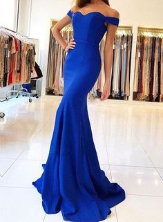 Sexy Mermaid Royal Blue Prom Dress,Sweep Train Long Evening Dress,Mermaid Evening Dresses