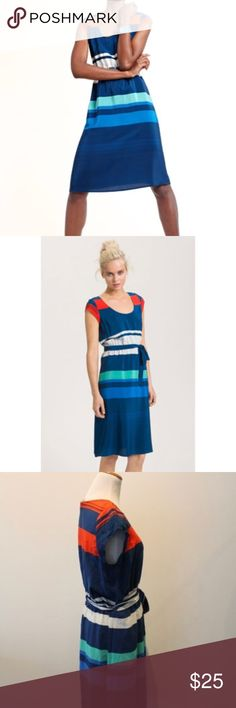 """Presley Skye Gwen Silk Stripe Dress S. Nordstrom Dress. Vivid contrasting stripes pattern a silk cap-sleeve dress refined with a sash tie at the elastic waist. Slips on over head. Side-seam pockets. Approx. length from shoulder to hem: 42"""". Unlined. Silk; dry clean. Size Tag removed, so no return. Beautiful. Presley Skye Dresses Midi"""