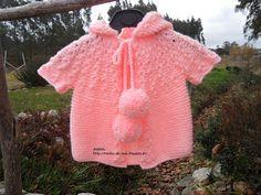Rendas da Mãe: Casaco de tricot para menina com capuz