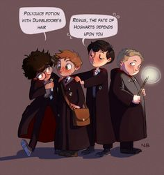 Harry Potter FanArt - Marauders: James Potter, Remus Lupin, Sirus Black and Peter Pettigrew Fanart Harry Potter, Harry Potter Fandom, Harry Potter World, Harry Potter Memes, Hogwarts, Slytherin, Marauders Fan Art, Marauders Era, No Muggles